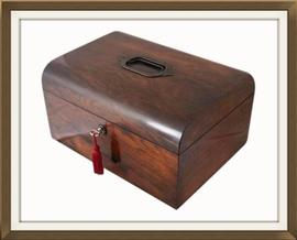 SOLD Large Antique Walnut Sewing & Jewellery Box