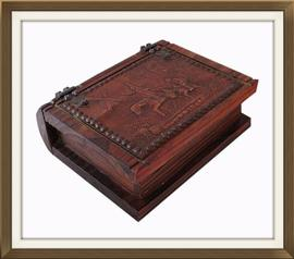 Book Shaped Vintage Box With Studded Leather Cover
