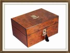 SOLD Antique Inlaid Walnut Veneered Jewellery Box