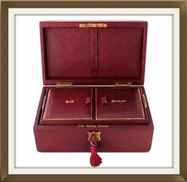 SOLD Antique Leather Gold And Silver Jewellery Box