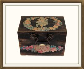 SOLD Beautiful Vintage Jewellery Box With Cherub