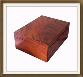 SOLD Flame Mahogany Antique Jewellery Box