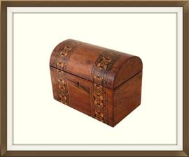 Beautiful Relined Inlaid Walnut Antique Box
