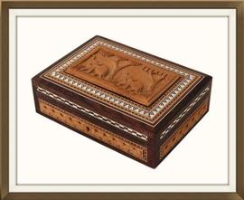 SOLD Anglo Indian Carved Inlaid Jewellery Box