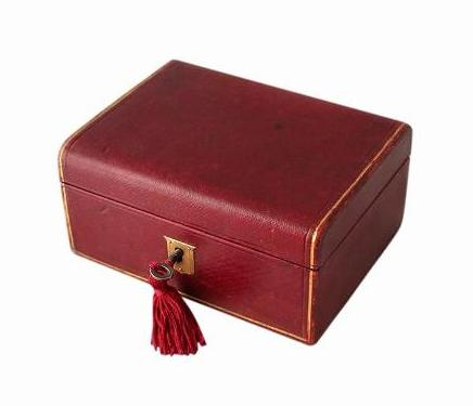 SOLD Red Leather Antique Jewellery Box