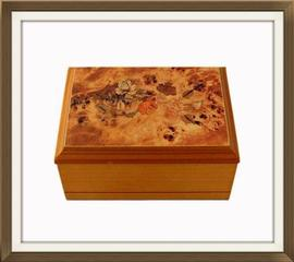 SOLD Burl Maple & Inlaid Effect Jewellery Box