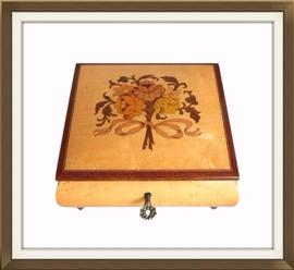 SOLD Vintage Floral Inlaid Musical Jewellery Box