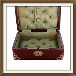 SOLD Antique Jewellery Box With Quilted Satin