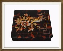 SOLD Antique Enameled Papier Mache Jewellery Box