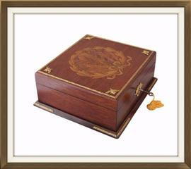 SOLD French Art Deco Inlaid Mahogany Jewellery Box