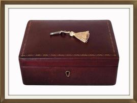 SOLD Satin Lined Burgundy Leather Jewellery Box
