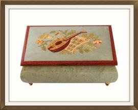 SOLD Vintage Inlaid Enameled Musical Jewellery Box