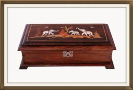 Beautiful Inlaid Vintage Jewellery Box With Mirror