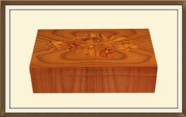 SOLD Vintage Inlaid Satinwood Jewellery Box