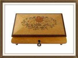 Italian Vintage Jewellery Box With Floral Inlay