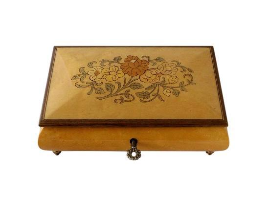 SOLD Vintage Jewellery Box With Floral Inlay