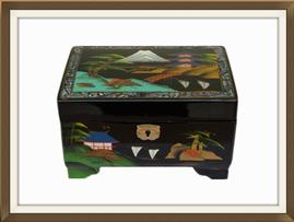 SOLD Vintage Hand Painted Musical Jewellery Box