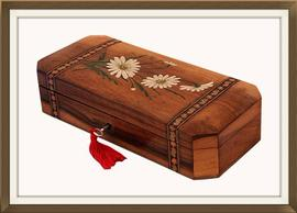 SOLD Antique Hand Painted Olive Wood Jewellery Box