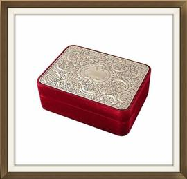 SOLD Velvet And Silver Plated Jewellery Box